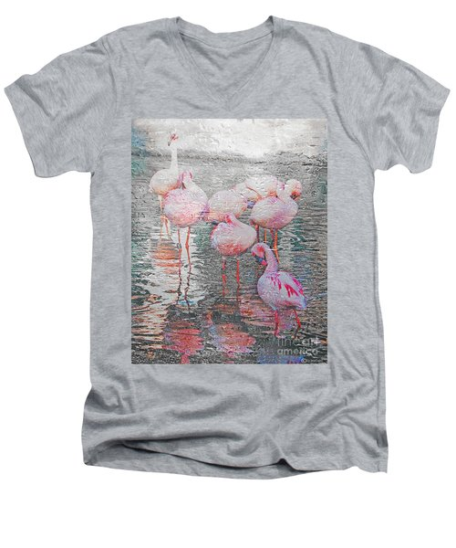 Rainy Day Flamingos Men's V-Neck T-Shirt