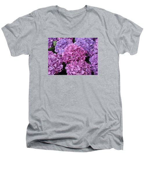 Men's V-Neck T-Shirt featuring the photograph Rainy Day Flowers by Ira Shander