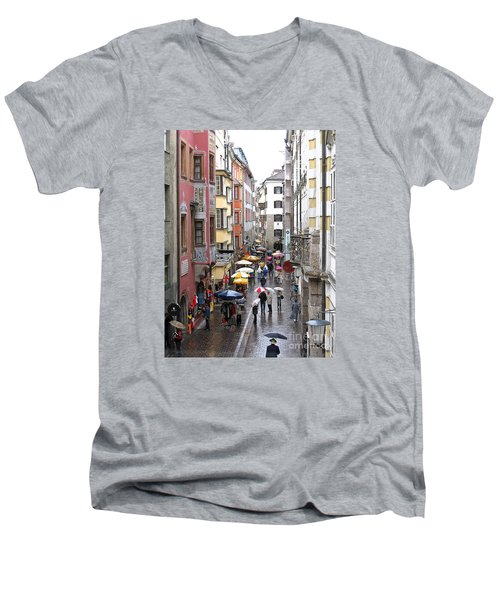 Rainy Day Shopping Men's V-Neck T-Shirt by Ann Horn
