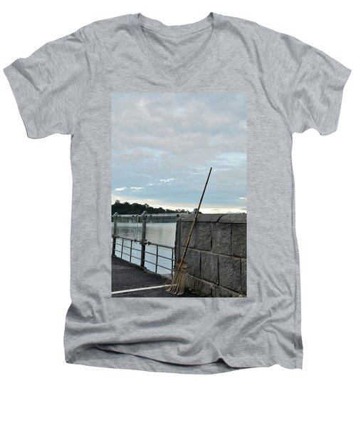 Men's V-Neck T-Shirt featuring the photograph Rake Rests Itself After A Hard Days Work by Imran Ahmed
