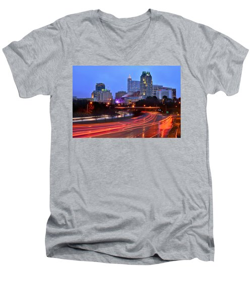 Men's V-Neck T-Shirt featuring the photograph Raleigh Skyline At Dusk Evening Color Evening Panorama North Carolina Nc by Jon Holiday