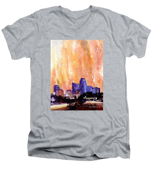 Raligh Skyline Sunset Men's V-Neck T-Shirt