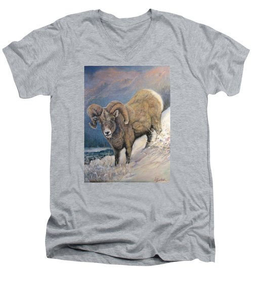 Men's V-Neck T-Shirt featuring the painting Ram In The Snow by Donna Tucker