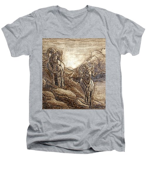 Rams Relief Men's V-Neck T-Shirt by Wendy McKennon