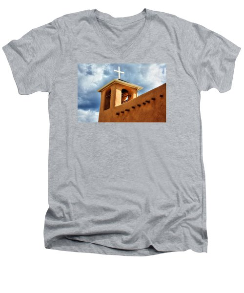 Men's V-Neck T-Shirt featuring the photograph Rancho De Taos Bell Tower And Cross by Lanita Williams