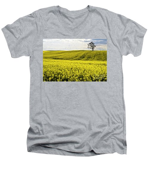 Rape Landscape With Lonely Tree Men's V-Neck T-Shirt by Heiko Koehrer-Wagner