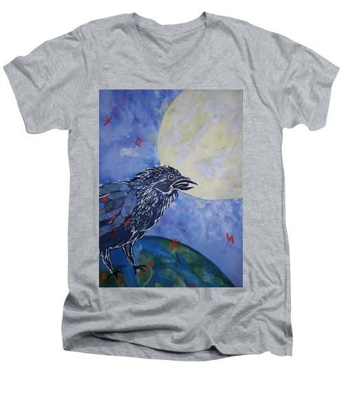 Raven Speak Men's V-Neck T-Shirt by Ellen Levinson