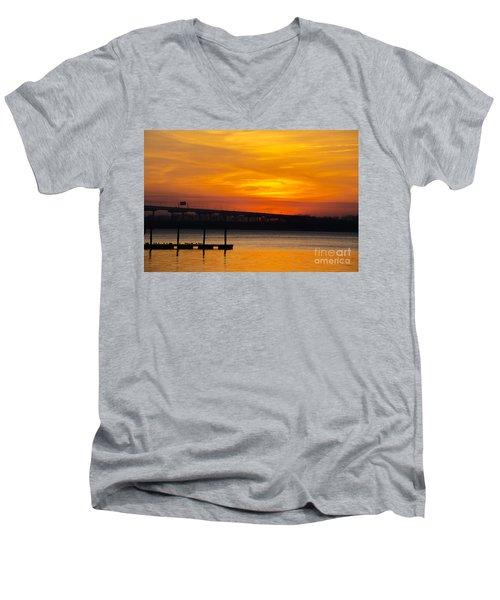 Orange Blaze Men's V-Neck T-Shirt by Dale Powell