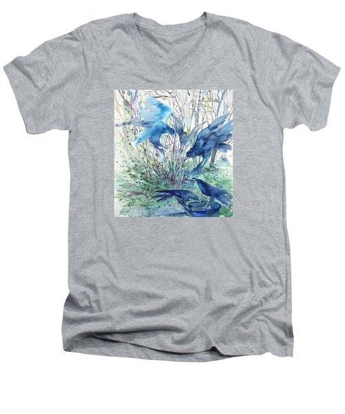 Ravens Wood Men's V-Neck T-Shirt by Trudi Doyle