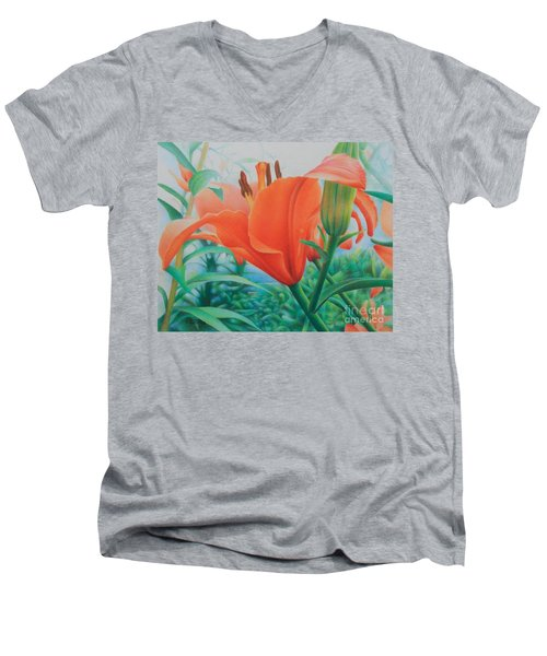 Reach For The Skies Men's V-Neck T-Shirt by Pamela Clements