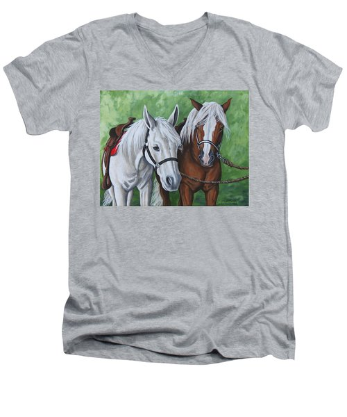 Men's V-Neck T-Shirt featuring the painting Ready To Ride by Penny Birch-Williams