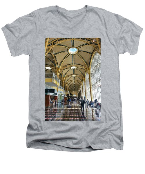 Men's V-Neck T-Shirt featuring the photograph Reagan National Airport by Suzanne Stout