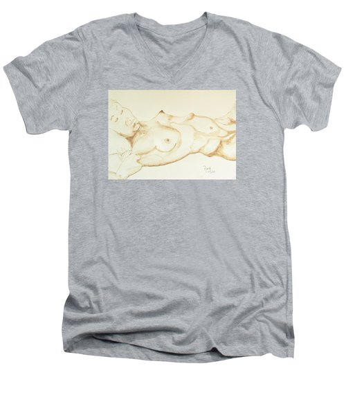 Men's V-Neck T-Shirt featuring the drawing Reclining Nude In Walnut Ink by Rand Swift