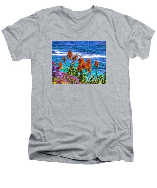 Red Aloe By The Pacific Men's V-Neck T-Shirt by Jim Carrell