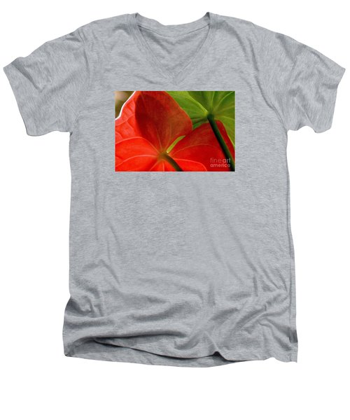Men's V-Neck T-Shirt featuring the photograph Red And Green Anthurium by Ranjini Kandasamy