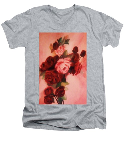 Men's V-Neck T-Shirt featuring the painting Red And Pink Roses by Christy Saunders Church