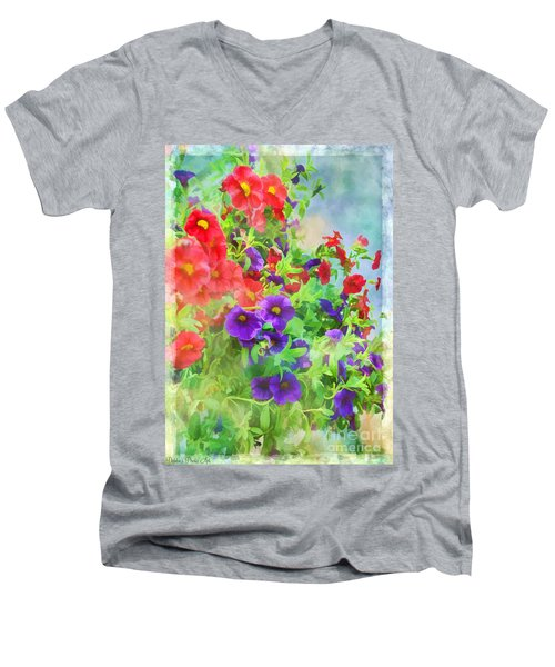 Red And Purple Calibrachoa - Digital Paint I Men's V-Neck T-Shirt by Debbie Portwood