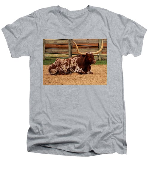 Red And White Texas Longhorn Men's V-Neck T-Shirt by Jonathan Davison