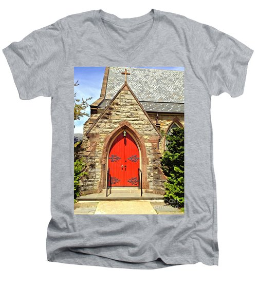 Men's V-Neck T-Shirt featuring the photograph Red Arch Church Door 1 by Becky Lupe