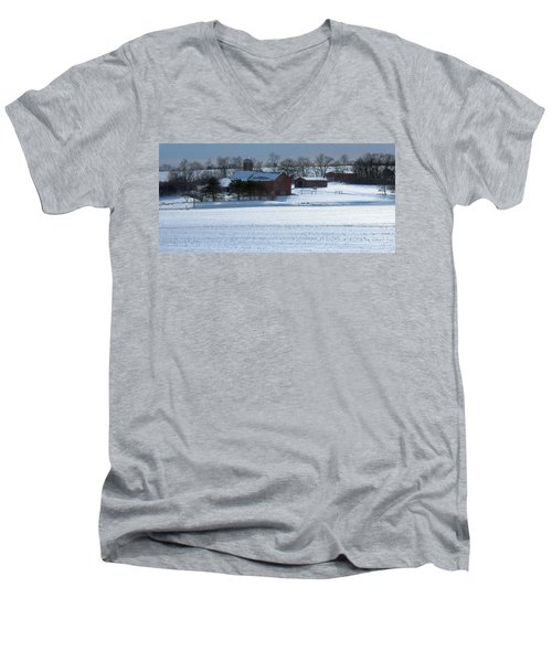 Red Barn In Snow Cover Men's V-Neck T-Shirt