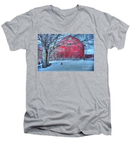 Red Barn In Winter Men's V-Neck T-Shirt by Terri Gostola