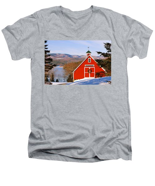 Red Barn On Newfound Lake Men's V-Neck T-Shirt