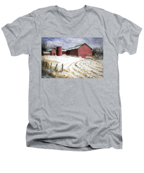 Red Barn On Rt. 49 Men's V-Neck T-Shirt