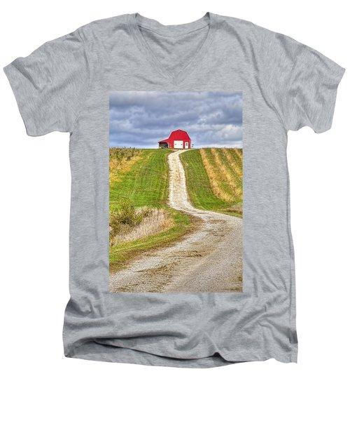 Red Barn On The Hill Men's V-Neck T-Shirt
