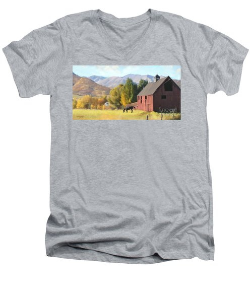 Men's V-Neck T-Shirt featuring the painting Red Barn by Rob Corsetti