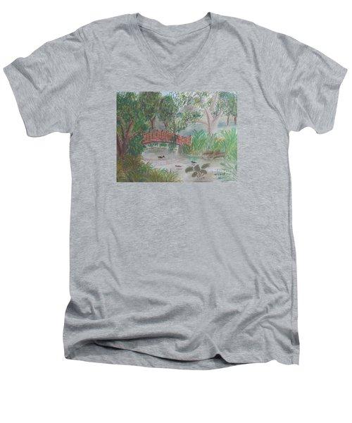 Red Bridge At Wollongong Botanical Gardens Men's V-Neck T-Shirt