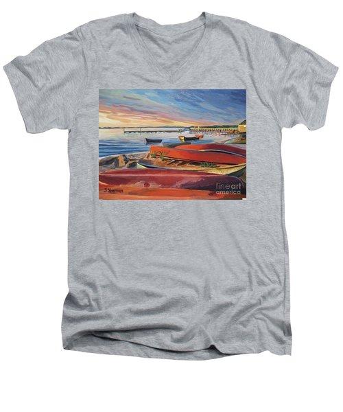 Red Canoe Sunset Men's V-Neck T-Shirt