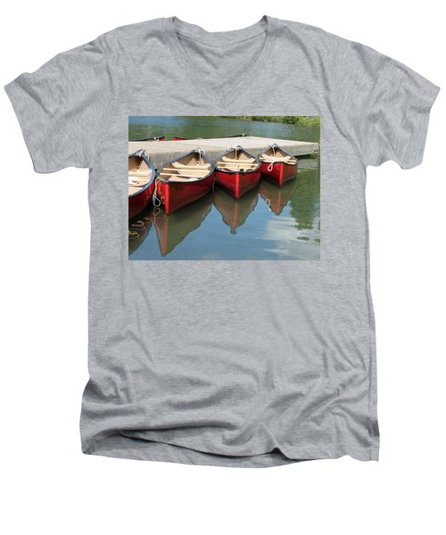 Men's V-Neck T-Shirt featuring the photograph Red Canoes by Marcia Socolik