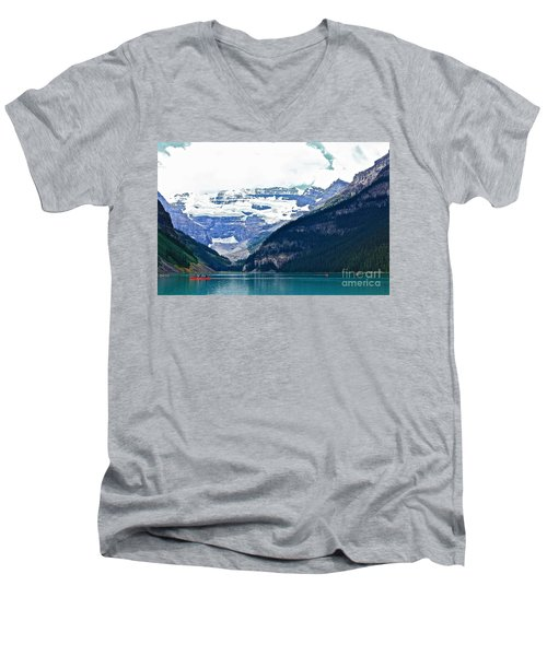 Men's V-Neck T-Shirt featuring the photograph Red Canoes Turquoise Water by Linda Bianic
