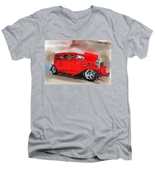 Red Car Men's V-Neck T-Shirt by Debra Baldwin