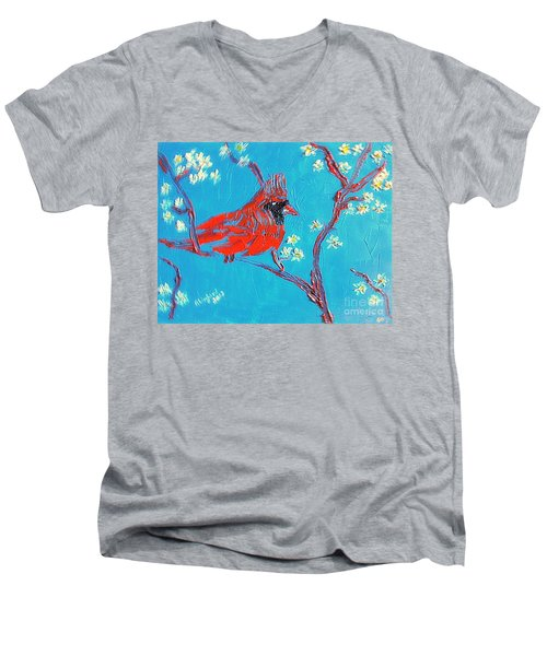 Men's V-Neck T-Shirt featuring the painting Red Cardinal Spring by Richard W Linford