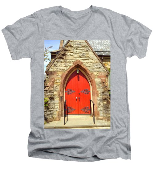 Men's V-Neck T-Shirt featuring the photograph Red Church Door by Becky Lupe