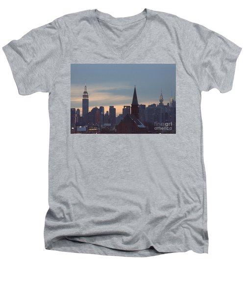 Men's V-Neck T-Shirt featuring the photograph Red Church by Steven Macanka