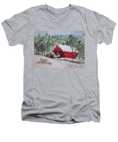 Red Covered Bridge Christmas Men's V-Neck T-Shirt by Kathy Marrs Chandler