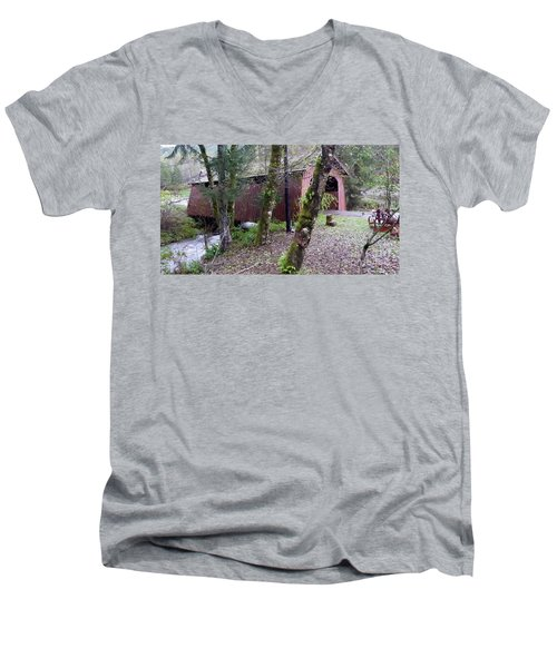 Red Covered Bridge  Men's V-Neck T-Shirt by Susan Garren