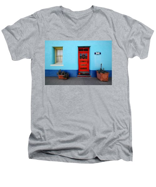 Red Door On Blue Wall Men's V-Neck T-Shirt
