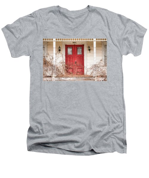 Red Doors - Charming Old Doors On The Abandoned House Men's V-Neck T-Shirt