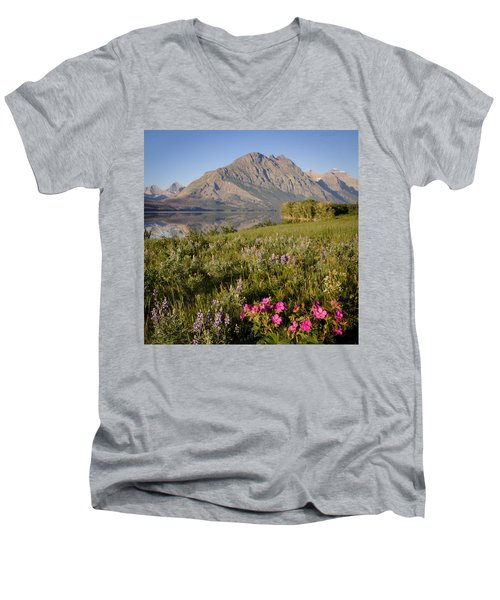 Men's V-Neck T-Shirt featuring the photograph Red Eagle Mountain by Jack Bell