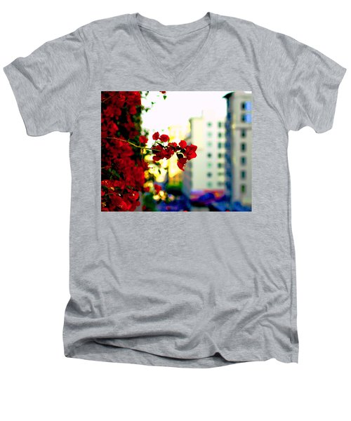 Men's V-Neck T-Shirt featuring the photograph Red Flowers Downtown by Matt Harang