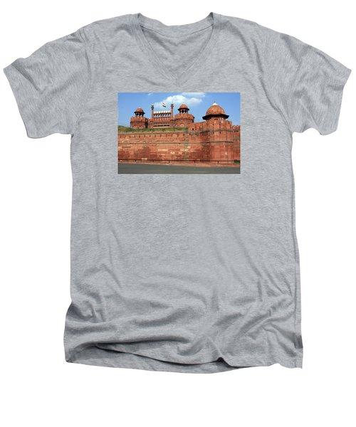 Red Fort New Delhi India Men's V-Neck T-Shirt