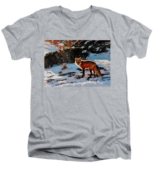 Men's V-Neck T-Shirt featuring the photograph Red Fox In Winter by Diane Alexander