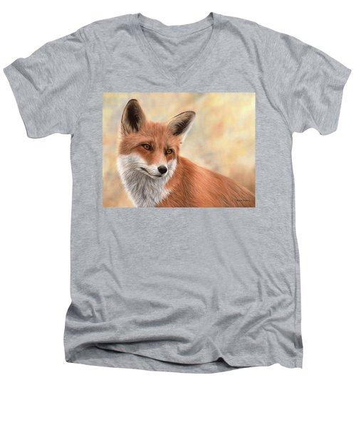 Red Fox Painting Men's V-Neck T-Shirt