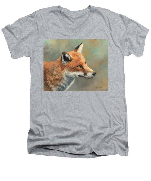 Red Fox Portrait Men's V-Neck T-Shirt by David Stribbling