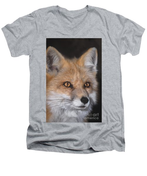 Men's V-Neck T-Shirt featuring the photograph Red Fox Portrait Wildlife Rescue by Dave Welling