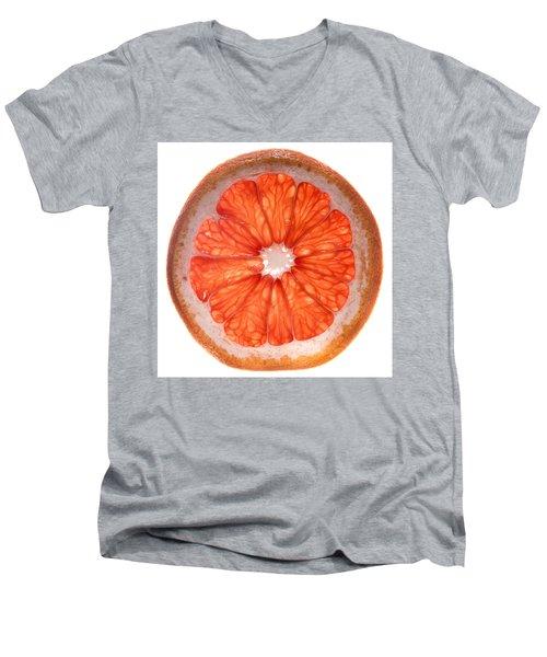 Red Grapefruit Men's V-Neck T-Shirt by Steve Gadomski