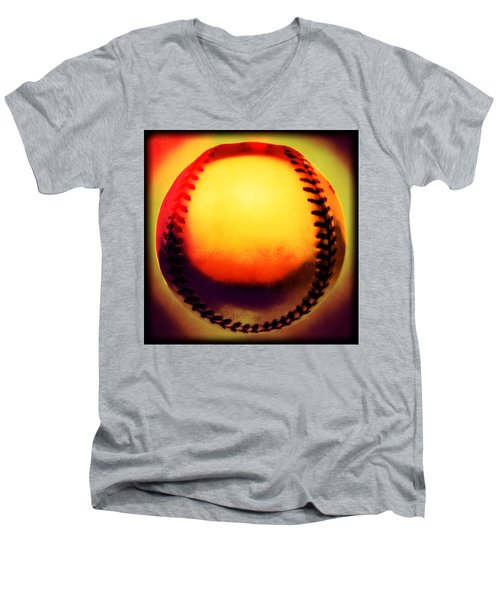 Red Hot Baseball Men's V-Neck T-Shirt by Yo Pedro